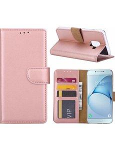 Ntech Ntech Samsung Galaxy A6+ (2018) case Rose Goud Portemonnee hoesje met opbergvakjes