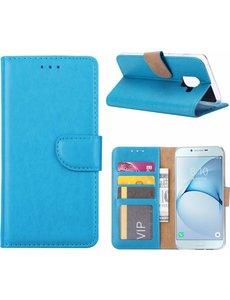 Ntech Ntech Samsung Galaxy A6+ (2018) case Turquoise Portemonnee hoesje met opbergvakjes