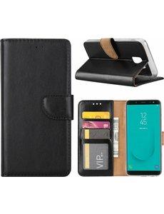 Ntech Ntech Samsung Galaxy J6 (2018) case Zwart Portemonnee hoesje met opbergvakjes