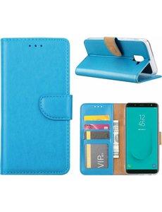Ntech Ntech Samsung Galaxy J6 (2018) case Turquoise Portemonnee hoesje met opbergvakjes