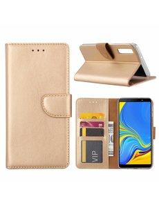 Ntech Ntech Samsung Galaxy A7 2018 Goud Portemonnee / Booktype TPU Lederen Hoesje