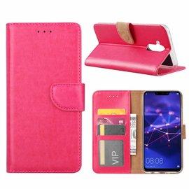 Ntech Ntech Huawei Mate 20 Lite Roze Booktype / Portemonnee TPU Lederen Hoesje