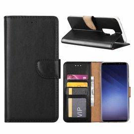 Ntech Ntech Samsung Galaxy S9 Plus Booktype / Portemonnee TPU Lederen Hoesje Zwart