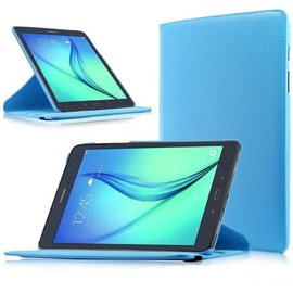 Merkloos Samsung Galaxy Tab A 9,7 inch SM-T550 Tablet Case met 360 draaistand cover hoes kleur Light Blauw