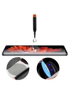 Merkloos Samsung Galaxy S10+ Plus UV liquid Curved Tempered Glass full cover met UV lampje