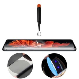 Merkloos Samsung Galaxy S10+ Plus UV liquid Curved Tempered Glass 9H full cover met UV lampje