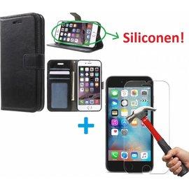 Merkloos iPhone 5 5S Portemonnee hoes zwart met Tempered Glas Screen protector