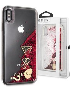 Guess Guess hardcase voor iPhone X / XS - Rood - Glitter - Liquid