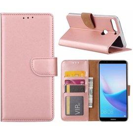 Merkloos Hoesje met opbergvakjes voor Huawei Y7 Prime (2018) portemonnee hoes Rose Goud