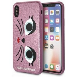 Karl Lagerfeld Karl Lagerfeld - Glitter cover - Pink - Roze - Back cover - Geschikt voor iPhone X / XS