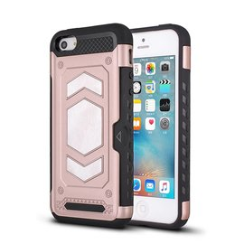 Ntech Ntech iPhone 5/5S/SE Luxe Armor Back Cover met Pasje sleuf & magnetische autohouder hoes - Rose Goud