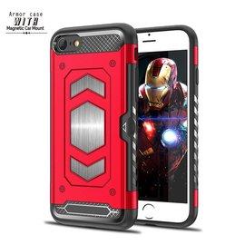 Ntech Ntech iPhone 8 / 7 Luxe Armor Back Cover met Pasje sleuf & magnetische autohouder hoesje - Rood
