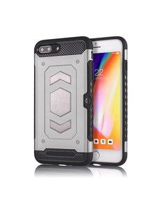 Ntech Ntech Apple iPhone 7+ / 8+ Luxe Armor Case met Pashouder - Zilver
