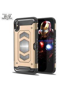 Ntech Ntech Apple iPhone X / XS Luxe Armor Case met Pashouder - Goud