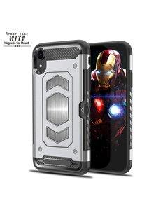Ntech Ntech Apple iPhone XR Luxe Armor Case met Pashouder - Zilver