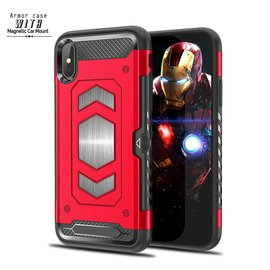 Ntech Ntech iPhone Xs Max Luxe Armor Back Cover met Pasje sleuf & magnetische autohouder hoes - Rood