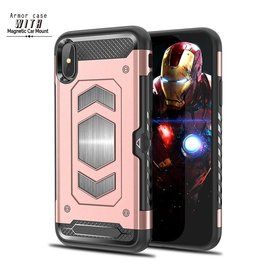 Ntech Ntech iPhone Xs Max Luxe Armor Back Cover met Pasje sleuf & magnetische autohouder hoes - Rose Goud