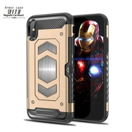 Ntech Ntech iPhone Xs Max Luxe Armor Back Cover met Pasje sleuf & magnetische autohouder hoes - Goud