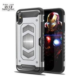 Ntech Ntech iPhone Xs Max Luxe Armor Back Cover met Pasje sleuf & magnetische autohouder hoes - Zilver