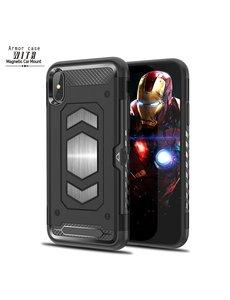 Ntech Ntech Apple iPhone Xs Max Luxe Armor Case met Pashouder - Zwart