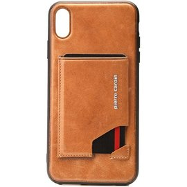 Pierre Cardin Pierre Cardin silicone backcover voor iPhone Xs Max - Bruin
