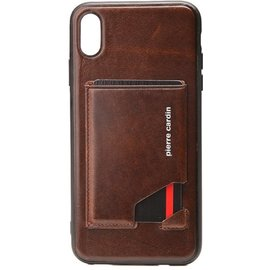 Pierre Cardin Pierre Cardin Silicone Backcover Voor IPhone Xs Max - D Bruin