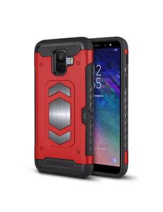 Ntech Ntech Samsung Galaxy A6 Luxe Armor Case met Pashouder - Rood