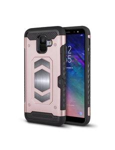 Ntech Ntech Samsung Galaxy A6 Luxe Armor Case met Pashouder - Rose Goud