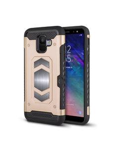 Ntech Ntech Samsung Galaxy A6 Luxe Armor Case met Pashouder - Goud