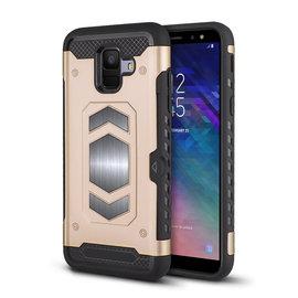 Ntech Ntech Samsung Galaxy A6 Luxe Armor TPU Back Cover met card slot & metaalplaat hoesje - Goud