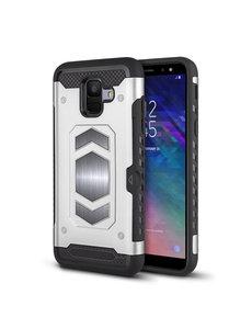 Ntech Ntech Samsung Galaxy A6 Luxe Armor Case met Pashouder - Zilver