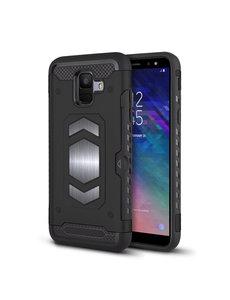 Ntech Ntech Samsung Galaxy A6 Luxe Armor Case met Pashouder - Zwart