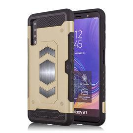 Ntech Ntech Samsung Galaxy A7 2018 Luxe Armor TPU Back Cover met card slot & metaalplaat hoesje - Goud