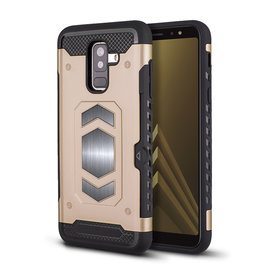 Ntech Ntech Samsung Galaxy A6+ (Plus) Luxe Armor TPU Back Cover met card slot & metaalplaat hoesje - Goud