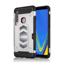 Ntech Ntech Samsung Galaxy A9 (2018) Luxe Armor TPU Back Cover met card slot & metaalplaat hoesje - Zilver
