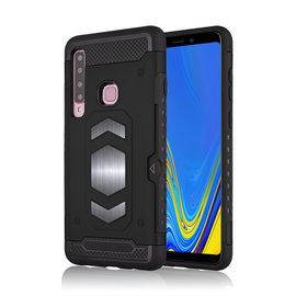 Ntech Ntech Samsung Galaxy A9 (2018) Luxe Armor TPU Back Cover met card slot & metaalplaat hoesje - Zwart