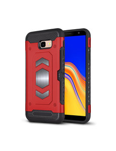 Ntech Ntech Samsung Galaxy J4 Plus (2018) Luxe Armor Case met Pashouder Rood