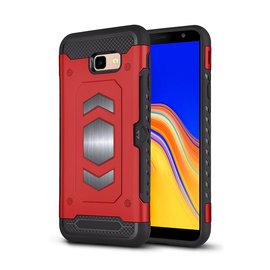 Ntech Ntech Samsung Galaxy J4+ (Plus) Luxe Armor TPU Back Cover met card slot & metaalplaat hoesje - Rood