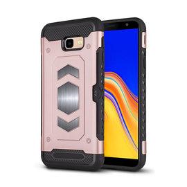 Ntech Ntech Samsung Galaxy J4+ (Plus) Luxe Armor TPU Back Cover met card slot & metaalplaat hoesje - Rose Goud