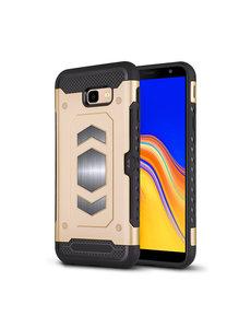 Ntech Ntech Samsung Galaxy J4 Plus (2018) Luxe Armor Case Pashouder - Goud