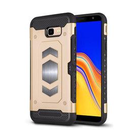 Ntech Ntech Samsung Galaxy J4+ (Plus) Luxe Armor TPU Back Cover met card slot & metaalplaat hoesje - Goud