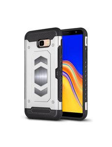 Ntech Ntech Samsung Galaxy J4 Plus (2018) Luxe Armor Case Pashouder - Zilver