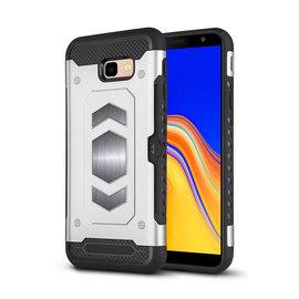 Ntech Ntech Samsung Galaxy J4+ (Plus) Luxe Armor TPU Back Cover met card slot & metaalplaat hoesje - Zilver