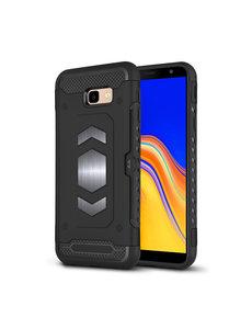 Ntech Ntech Samsung Galaxy J4 Plus (2018) Luxe Armor Case Pashouder - Zwart