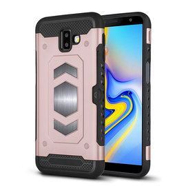 Ntech Ntech Samsung Galaxy J6+ (Plus) 2018 Luxe Armor TPU Back Cover met card slot & metaalplaat hoesje - Rose Goud