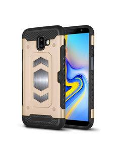 Ntech Ntech Samsung Galaxy J6 Plus (2018) Luxe Armor Case Pashouder - Goud