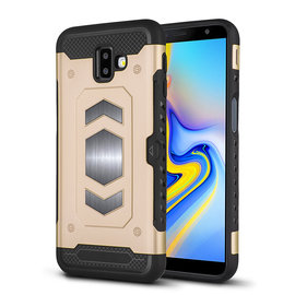 Ntech Ntech Samsung Galaxy J6+ (Plus) 2018 Luxe Armor TPU Back Cover met card slot & metaalplaat hoesje - Goud