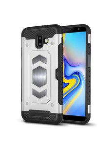 Ntech Ntech Samsung Galaxy J6 Plus (2018) Luxe Armor Case Pashouder - Zilver
