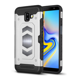 Ntech Ntech Samsung Galaxy J6+ (Plus) 2018 Luxe Armor TPU Back Cover met card slot & metaalplaat hoesje - Zilver