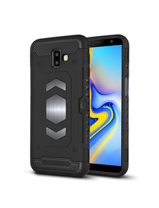 Ntech Ntech Samsung Galaxy J6 Plus (2018) Luxe Armor Case Pashouder - Zwart